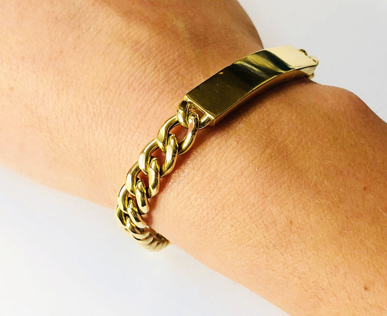 Geelgouden plaat armband  - Goudcentrum.nl