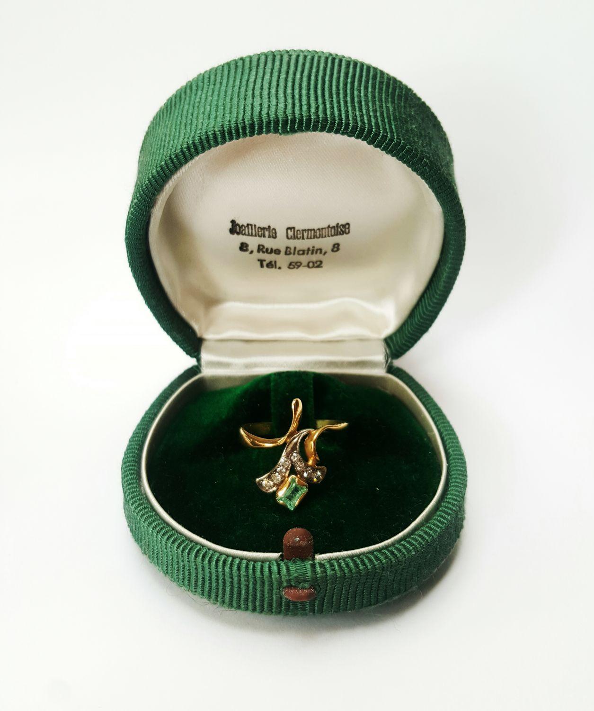 Vintage Belle Epoque Ring bezet met smaragd en diamanten - Goudcentrum.nl