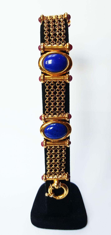 18 krt geelgouden jasseron armband bezet met Lapis Lazuli en Robijnen  - Goudcentrum.nl