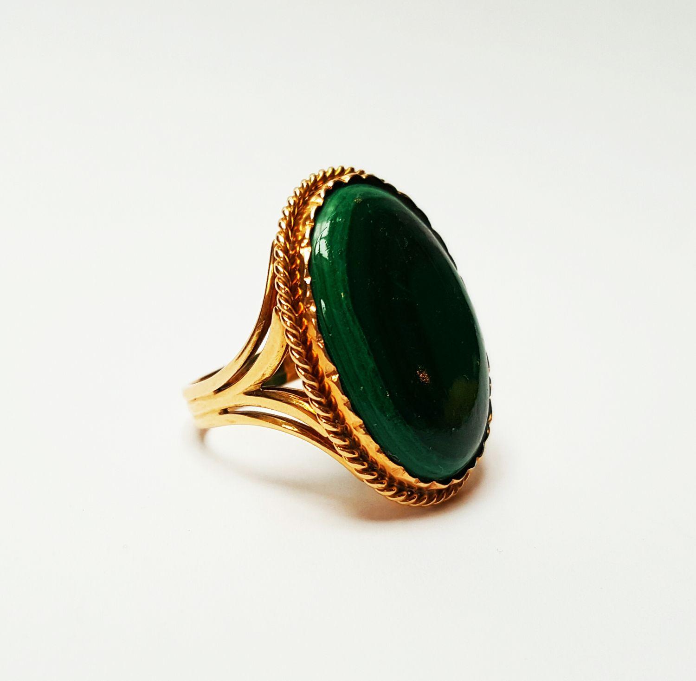 14 krt geelgouden vintage ring met malachiet - Goudcentrum.nl