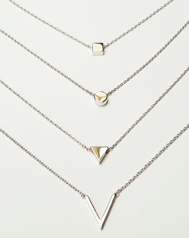 Sterling zilveren colliers met geometrische hangers  - Goudcentrum.nl