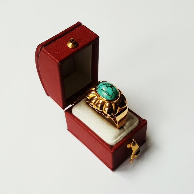 Prachtige antiek gouden ring bezet met turkoois  - Goudcentrum.nl